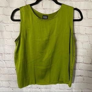 Eileen Fisher 100% Silk leaf green Tank size Med.